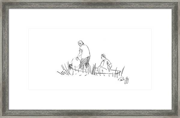 Father And Son Netting Bait Bayou La Batre Alabama Framed Print