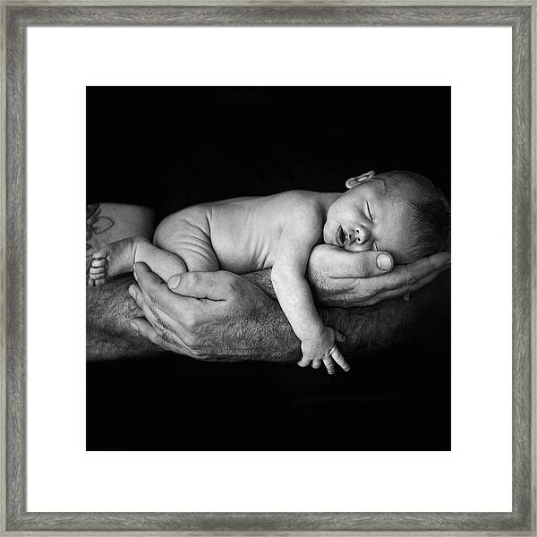 Father Holding Newborn Baby Framed Print by Lise Gagne