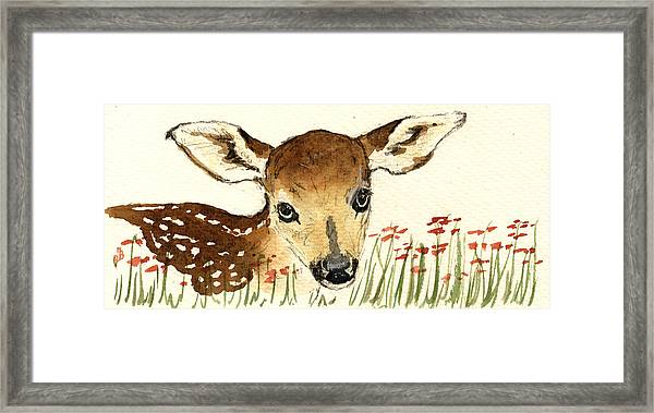 Fawn In The Flowers Framed Print