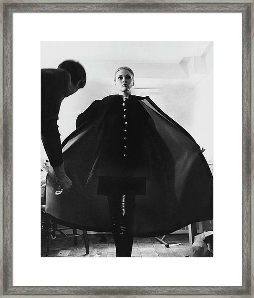Faye Dunaway Wearing A Melton Coat Framed Print