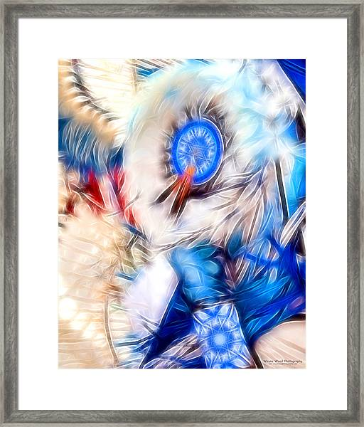Feather Abstract In Blue Framed Print