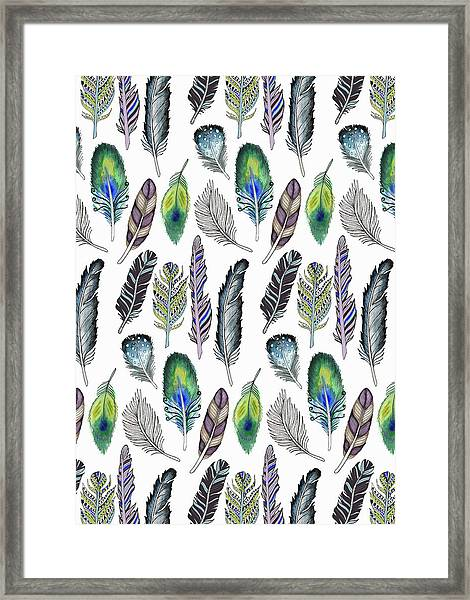 Feathers Illustrative Funky Bohemian Repeat On White.jpg Framed Print