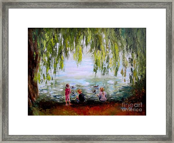 Feeding Ducks At Fort Dent Park Framed Print