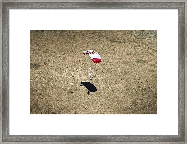 Felix Baumgartner Landing After Freefall Framed Print