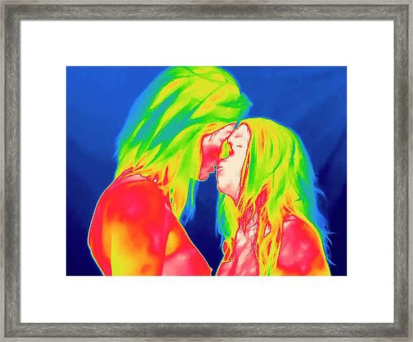 Female Couple Kissing Framed Print