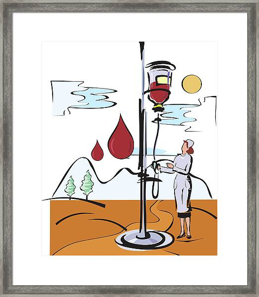 Female Nurse Holding Iv Stand Framed Print by Fanatic Studio / Science Photo Library