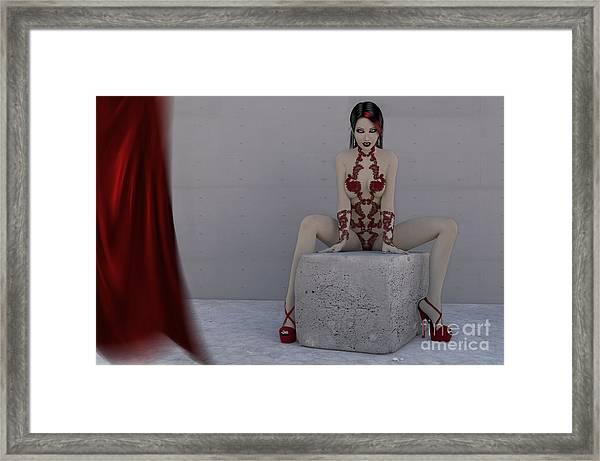 Female Vampire Red Lingerie Framed Print