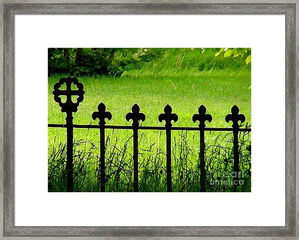 Fence And Cross Framed Print