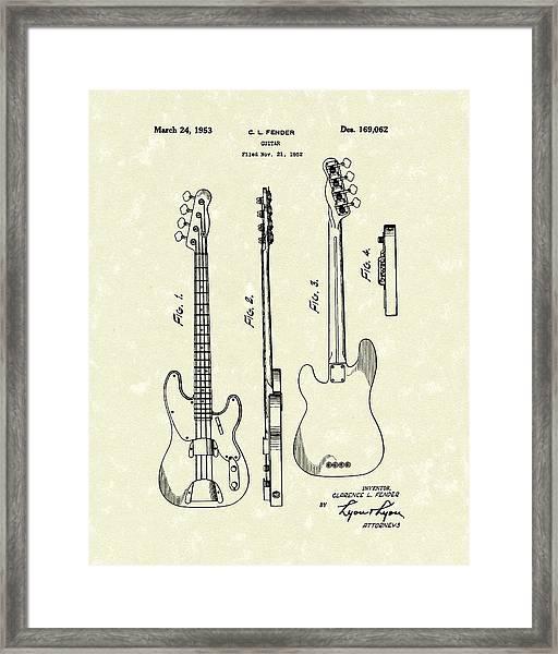 Fender Bass Guitar 1953 Patent Art  Framed Print