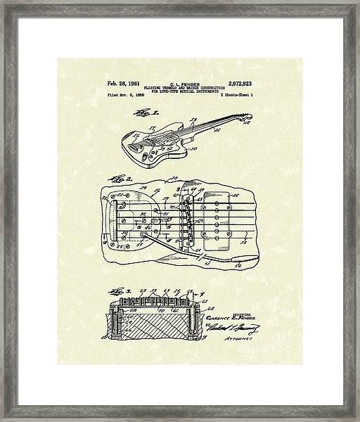 Fender Floating Tremolo 1961 Patent Art Framed Print