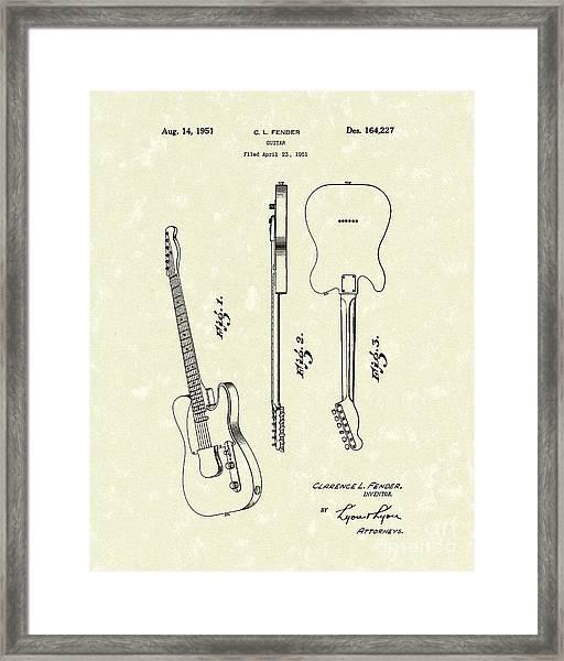 Fender Guitar 1951 Patent Art Framed Print