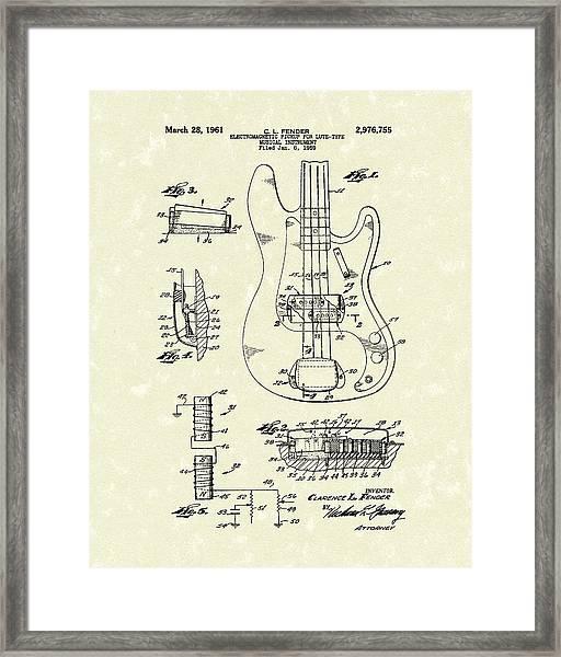 Fender Guitar 1961 Patent Art Framed Print