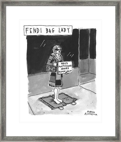 'fendi Bag Lady' Framed Print