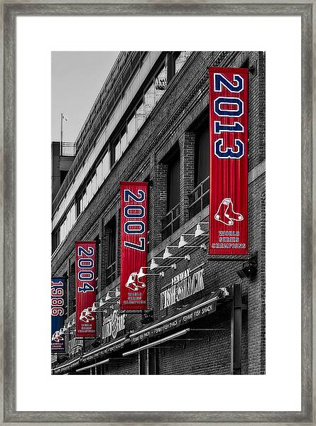 Framed Print featuring the photograph Fenway Boston Red Sox Champions Banners by Susan Candelario