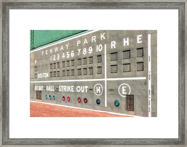 Framed Print featuring the photograph Fenway Park Scoreboard by Susan Candelario
