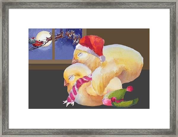 Baby Chicks Night Before Christmas Framed Print