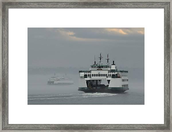 Ferries Pass In The Fog Framed Print
