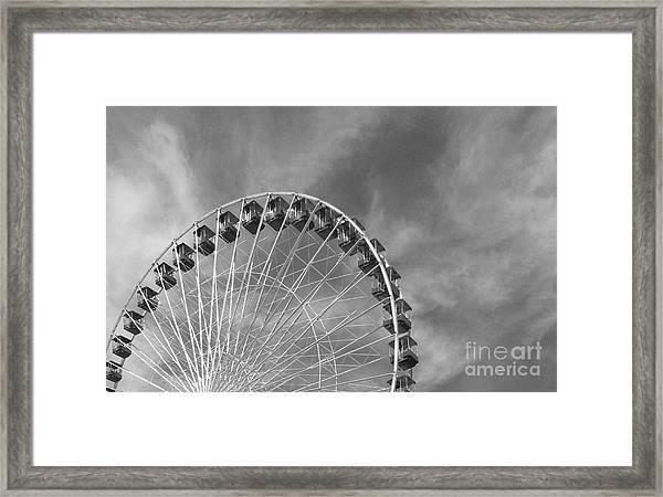 Ferris Wheel Black And White Framed Print