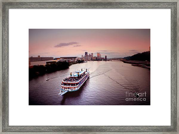 Ferry Boat At The Point In Pittsburgh Pa Framed Print