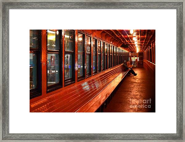 Ferry Boat Riders Framed Print