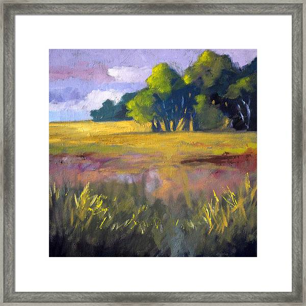 Field Grass Landscape Painting Framed Print