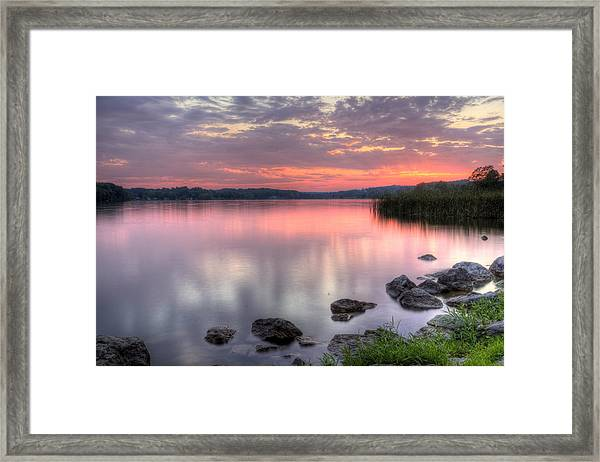 Fiery Lake Sunset Framed Print