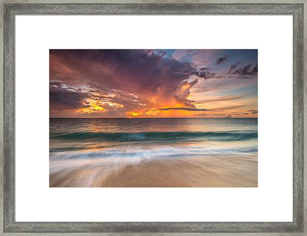 Fiery Skies Azure Waters Rendezvous Framed Print