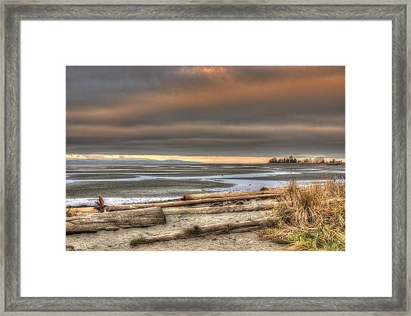 Framed Print featuring the photograph Fiery Sky Over The Salish Sea by Randy Hall