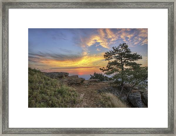 Fiery Sunrise From Atop Mt. Nebo - Arkansas Framed Print