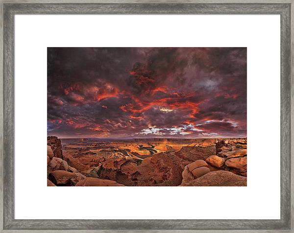 Fiery Sunrise Over Dead Horse Point State Park Framed Print by Sebastien Coursol
