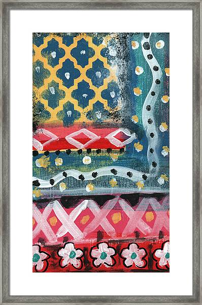 Fiesta 4- Colorful Pattern Painting Framed Print