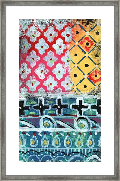 Fiesta 6- Colorful Pattern Painting Framed Print