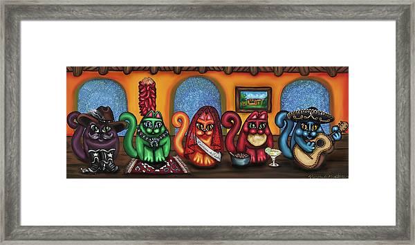 Fiesta Cats Or Gatos De Santa Fe Framed Print