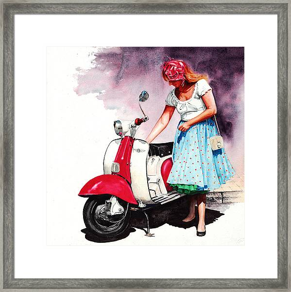 Fifties Lambretta Girl Framed Print