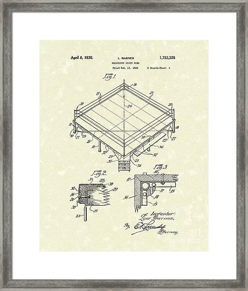 Fight Ring 1930 Patent Art Framed Print