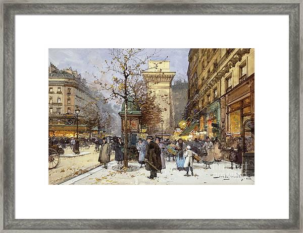 Figures On Le Boulevard St. Denis At Twilight Framed Print