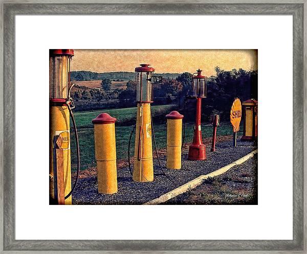 Fill 'er Up Vintage Fuel Gas Pumps Framed Print