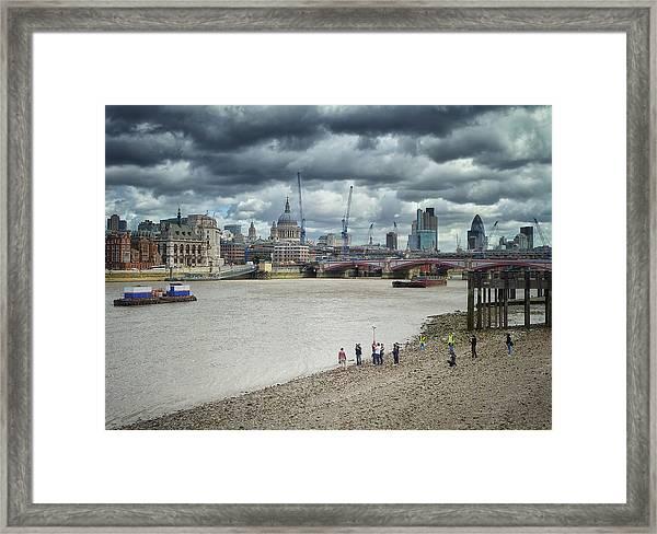 Film Crew On The Thames - London Back-drop Framed Print