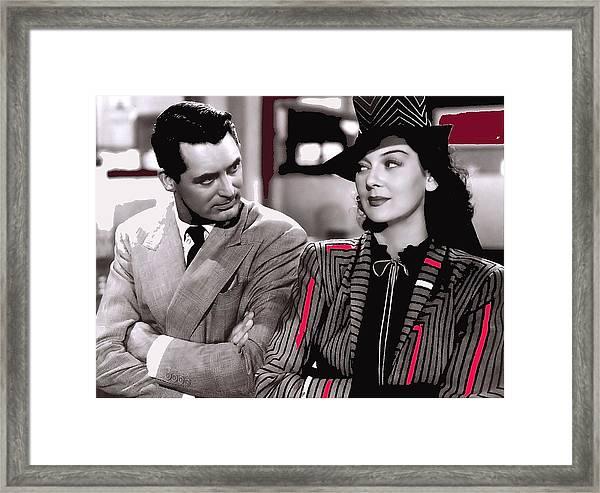 Film Homage Cary Grant Rosalind Russell Howard Hawks His Girl Friday 1940-2008 Framed Print