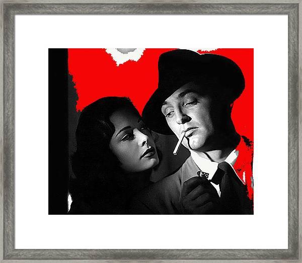 Film Noir Jane Greer Robert Mitchum Out Of The Past 1947 Rko Color Added 2012 Framed Print