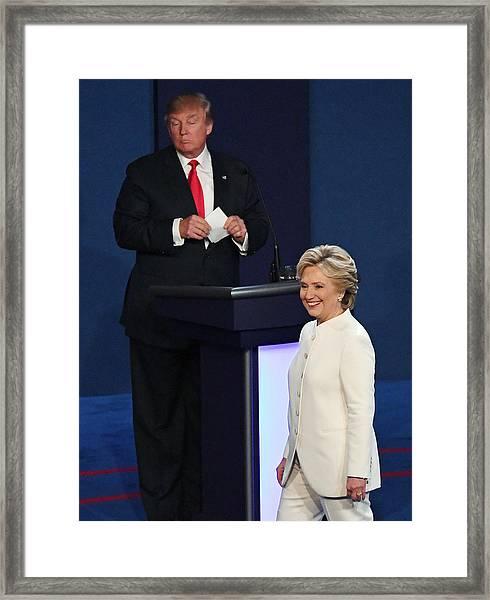 Final Presidential Debate Between Hillary Clinton And Donald Trump Held In Las Vegas Framed Print by Ethan Miller
