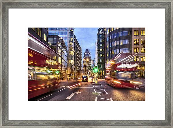 Financial District In London At Dusk Framed Print by Xavierarnau