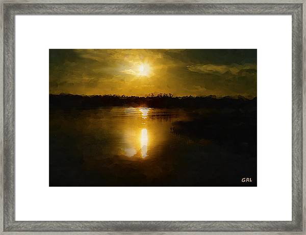 Framed Print featuring the painting Fine Art Digital Painting Sunset Weeki Wachee Florida by G Linsenmayer