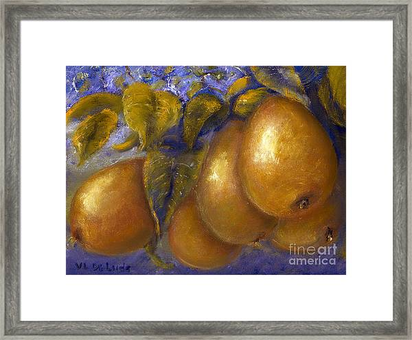 Fine Art Golden Pears With Blue And Green Framed Print