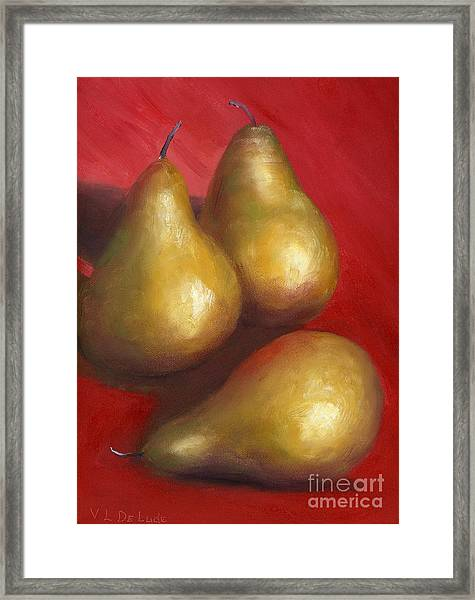 Fine Art Hand Painted Golden Pears Red Background Framed Print by Lenora  De Lude