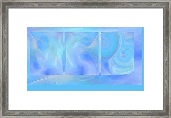 Fine Art Original Digital Abstract Untitled1bb4 As Blue Framed Print