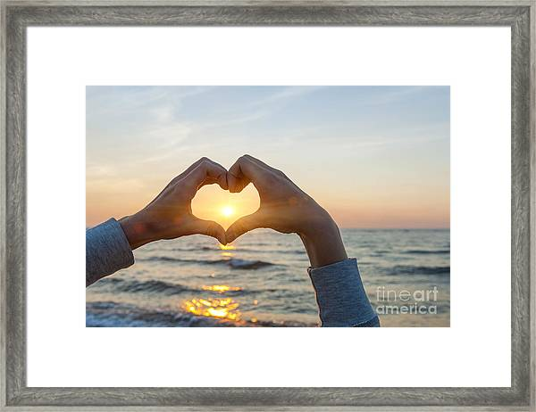 Fingers Heart Framing Ocean Sunset Framed Print