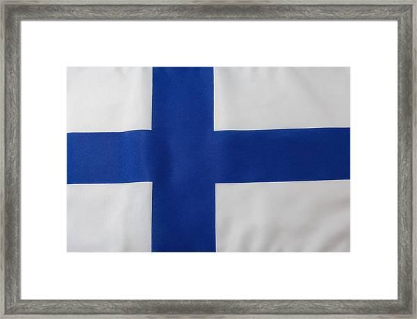 Finnish Flag Framed Print by Junior Gonzalez