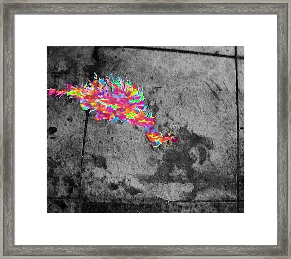 Fire Breathing Man On Skid Row Framed Print