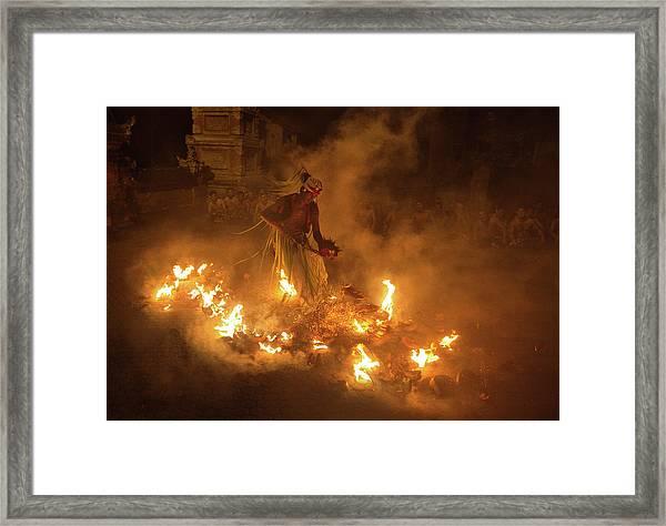 Fire Dancer Framed Print by Angela Muliani Hartojo